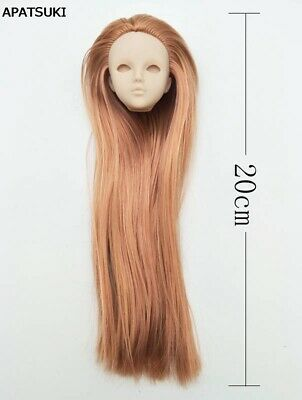 Brown Hair DIY Practice Doll Head For 1/6 Dollhouse Heads Without Make UP Eye