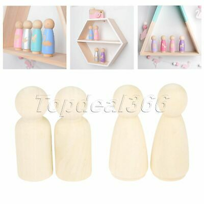 "10/50Pcs Unfinished 2.17"" Wooden Peg Dolls Solid Art Craft Kids Toy UK Stock"