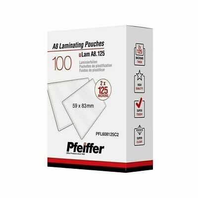 Pfeiffer A8 Laminating Pouches 125 mic (59 x 83 mm), 100-Pack (C)