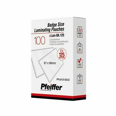 Pfeiffer Badge size Laminating Pouches 125 mic (67 x 99 mm), 100-Pack (C)