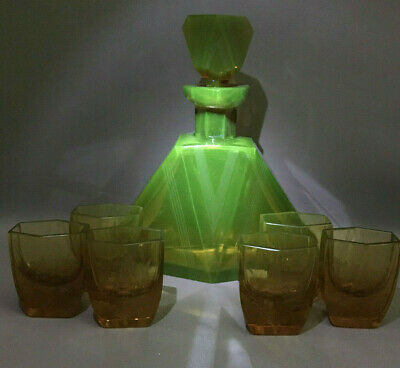 Art Deco Bohemia Moser Decanter + 6 Glasses Amber Uranium Vaseline Cut Crystal
