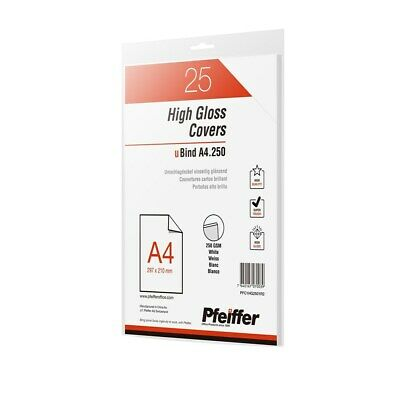 Pfeiffer High Gloss Covers A4 250gsm White, 25-Pack. PFC1HG2501R2