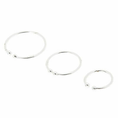 Claire S Girl S Simple Silver Nose Hoops Pack Of 3 In Silver