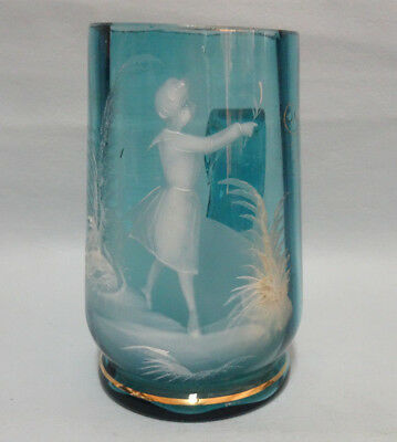Antique Mary Gregory Aqua Blue Glass Tea Cup Enameled Girl with Flower
