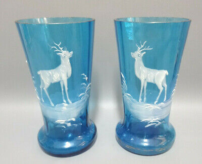 Two Antique Mary Gregory Aqua Blue Glass Water Cup Enameled Deer