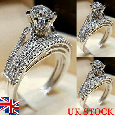 Women 2Pcs Rhinestone Ring Set Cubic 925 Silver Wedding Engagement Jewelry 6-10