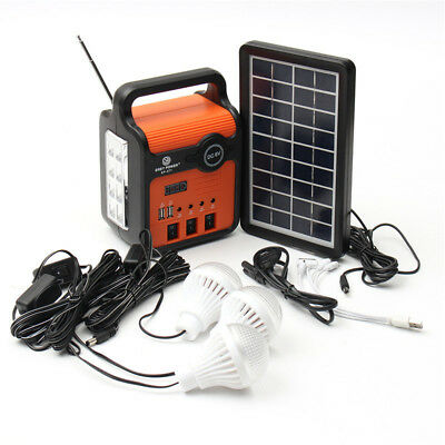 25W Portable Generator Solar Panel Power System Storage Charging Outdoor + Radio