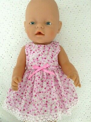 """Handmade Dolls clothes ~ 43cm Baby Born /16"""" CPK  ~ Pink floral Dress"""