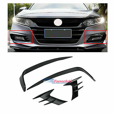 For Honda Accord 2018-2019 Bright Black Front Fog Lights Lamp Eyebrow Cover Trim