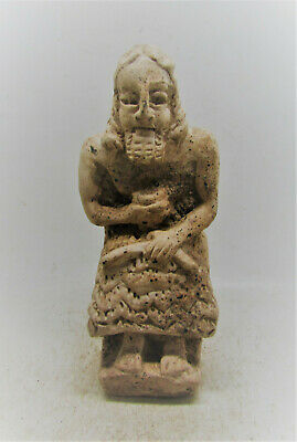 Circa 3000-2000Bce Ancient Near Eastern Seated Terracotta Worshipper Very Rare.
