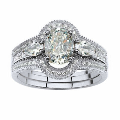 3 Piece 1.75 Carat Oval Cut Diamond Halo Bridal Ring Set 10K Real White Gold