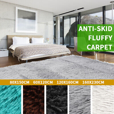 Large Fluffy Shaggy Area Rugs Anti-Skid Rug Dining Room Carpet Floor Mat Home