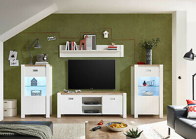Modern Cottage Country Display Cabinet Living Set Storage Unit LED White Oak DR