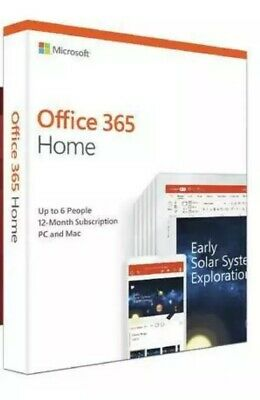 New Microsoft Office 365 Home up to 6 users 1 year PC Mac box MFR Sealed BN