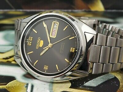 088efb21b SEIKO 5 AUTOMATIC SS Men's Wrist Watch-Japanese Retro Watch Solid Back Dial- 7009