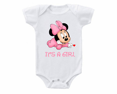 Pregnancy Announcement Onesie Gender Reveal Minnie Mouse It's A Girl 0-3 months