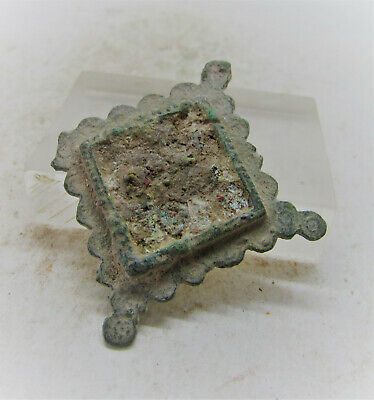 Ancient Roman Legionary Bronze Enamelled Plate Type Brooch