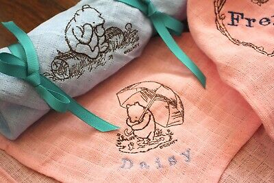 Personalised Baby Burp Muslin Cloth with Winnie the Pooh
