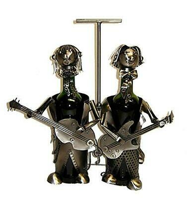 (D) Wine Bottle Holder, Duo Guitar Players, Bar Counter Decoration