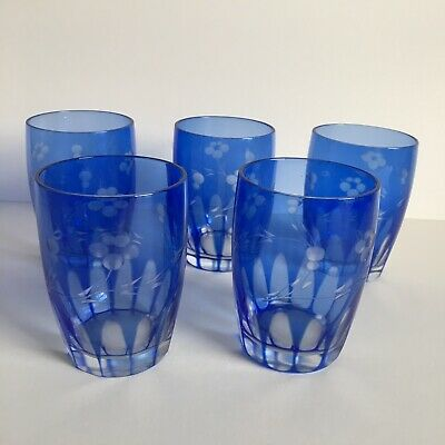 Bohemian glass set of 5 small tumblers cut blue to clear