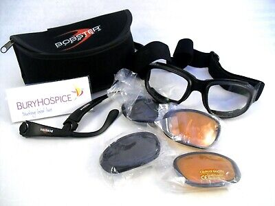 Bobster Eyewear Motorcycle Goggles in case with spare sun lenses (WH_7824)