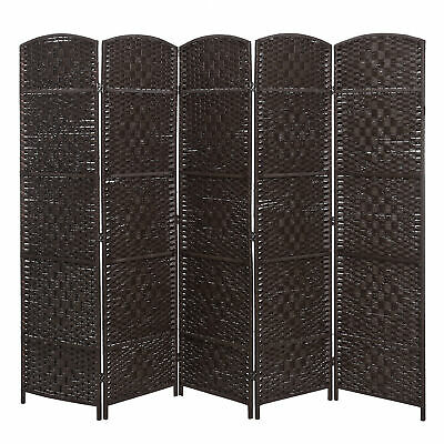 Handwoven Bamboo 5 Panel Partition Room Divider with Dual Hinges, Brown