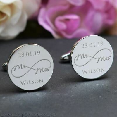 SILVER Personalised Engraved ROUND Wedding Cufflinks - Infinity Groom Best Man