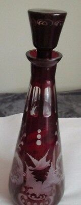 Antique  Egermann Bohemian Glass Ruby Red Etched  Stag  Decanter 15.5''
