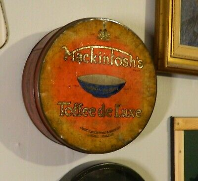 "Mackintosh's Toffee Deluxe:10"" Tin wall decor:Antique Rare c1900:Lacquered lid:"