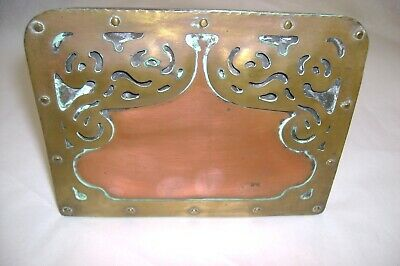arts & crafts mission single brass & copper bookend--unsigned