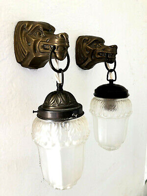 Jugendstil Art Deco Wandlampe Brass Laiton Applique Sconce Wall Lamp