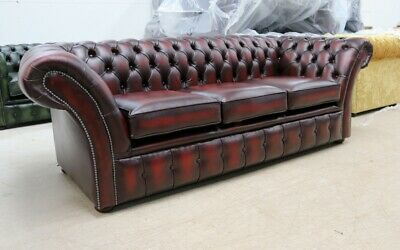 Modern Handmade Vintage Oxblood Red Leather Chesterfield Buttoned 3 Seater Sofa