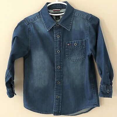 Tommy Hilfiger Boys Size 2T Button Front Shirt Blue Long Sleeve