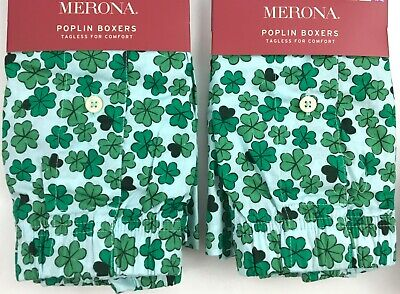 TWO PAIR Merona Poplin Shamrock Mens Boxers YOU CHOOSE SIZE Lucky St Patricks