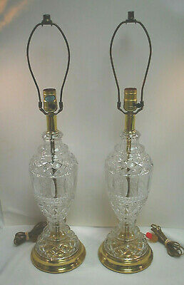 "PAIR of Crystal Glass and Brass Electric Table Lamps 27"" Tall Vintage L2727"