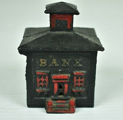 Vintage Cast Iron  Bank Building Bank With Cupola