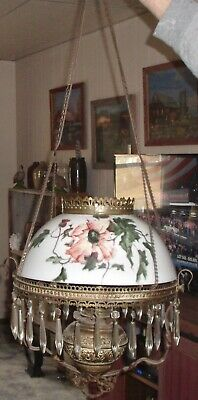 Antique Fancy Brass Chandelier With Hand Painted Shade