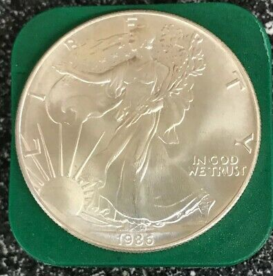 1986 1 oz Silver American Eagle BU Coin $1 Dollar Uncirculated Mint Light Toning