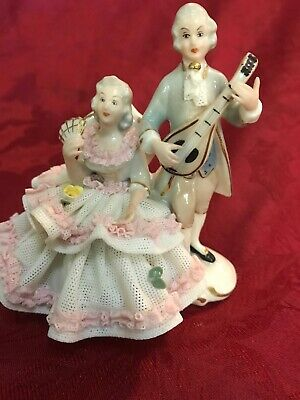 Dresden Sandizell Porcelain Lace Figurine Couple Man W/ Lute Lady Seated W/ Fan