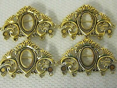 4 Brooch pin/pendants Antique Gold 18x13mm Cameo setting Vtg Victorian Deco Styl