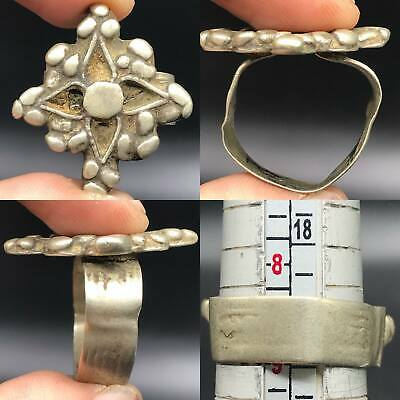 Intact Excellent Ancient Medieval Unqiue Silver Ring 1000 AD#SR2009