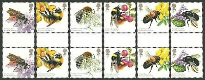 Gb 2015 Honeybees Bees & Flowers Insects Gutter Pairs Set Mnh