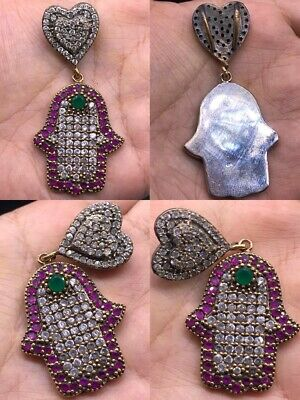 Wonderful Old Hamsa Hand 925 Silver Pendant With Ruby Stone  #SA74