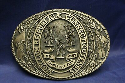 Tony Lama State of Connecticut Belt Buckle Solid Brass 1st Edition E3B3