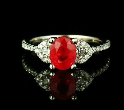 RARE FINE OVAL NATURAL 1.68ctw BURMESE RUBY & DIAMOND SOLID 18K WHITE GOLD RING