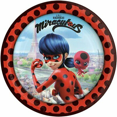 Official MIRACULOUS LADYBUG Party Paper PLATES 23cm Birthday Party Tableware 8pk