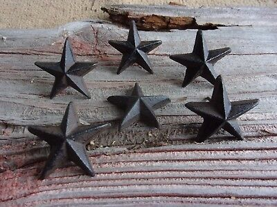 SMALL CAST IRON NAIL STAR WESTERN HOME DECOR (set of 6)  #111
