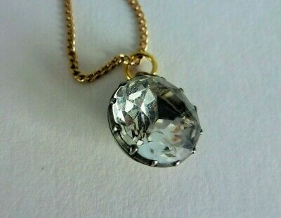 Antique Georgian Silver & Gold Black Dot Paste Drop Pendant & Chain , Beautiful