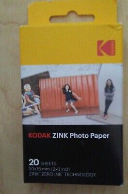Kodak Zinc Photo Paper 20 Sheets 2x3 Inch sealed box