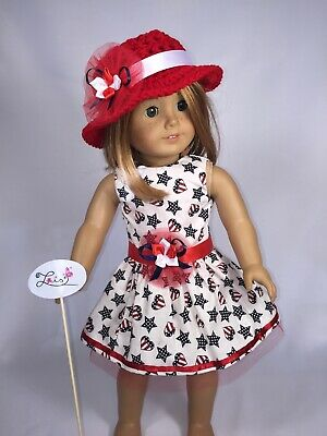 "Holiday 4Th July Patriotic Dress Red White & Blue  Fits 18"" American Girl Doll"